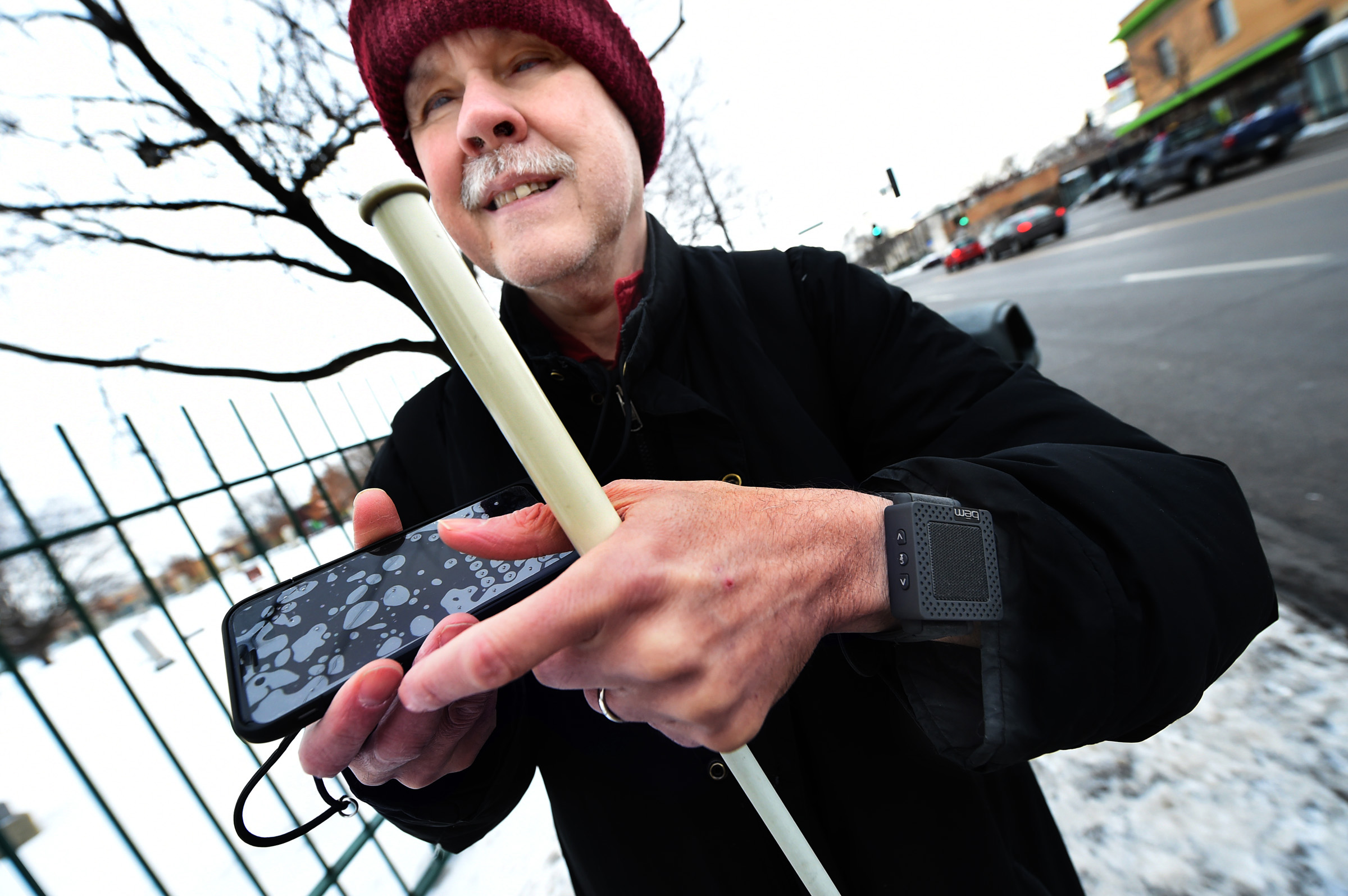 Blind person using mobile phone